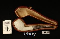 Devil Anse Lattice Hand Carved Block Meerschaum Pipe with case 12623