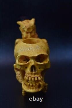 Devil Eating Skulls Brain Pipe BY SADIK YANIK Block Meerschaum-NEW W CASE#1344