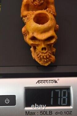 Devil Eating Skulls Brain Pipe BY SADIK YANIK Block Meerschaum-NEW W CASE#1345