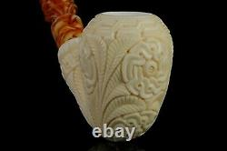 EGE Ornate Pear Pipe BLOCK MEERSCHAUM-NEW-HAND CARVED With Case#1492
