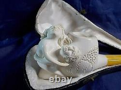 EROTIC VINTAGE Solid Block MEERSCHAUM Pipe Man and a Women making Love UNSMOKED