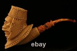 Egyptian Skull Hand Carved Block Meerschaum Pipe with custom case 11881