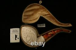 Embossed Cobra Block Meerschaum Pipe with custom CASE 11620