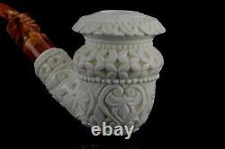 Erdogan Ege Ornate Topkapi Calabash Pipe Handmade New Block Meerschaum Case#1388