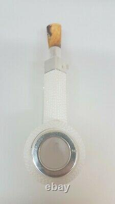 Excellent elite block meerschaum pipe with silver ring and fitted case