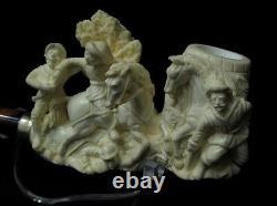 Exclusive Civil War Scene Block Meerschaum Pipe 925 Silver Gift Cor Vintage 7598