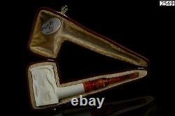 Flame embossed Poker Pipe By H EGE New Block Meerschaum Handmade W Case#177