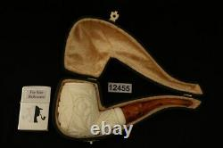Freemasonry Block Meerschaum Pipe with custom case 12455