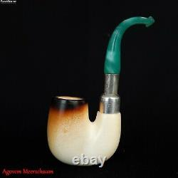 Full Bent Block Meerschaum Pipe with Silver Band, Tobacco Smoking Estate AGM-524