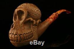 Giant Monkey Skull Hand Carved Block Meerschaum Pipe in CASE 10345