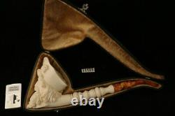 Giant Pirate Hand Carved Block Meerschaum Pipe with fitted custom case 11185