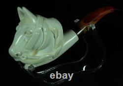 HORSE Block Meerschaum Smoking Tobacco Pipe Pipa Pfeife With CASE AGV-2664