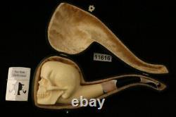 Halloween Skull Block Meerschaum Pipe by Kenan with CASE 11616