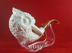 Hand Carved Bird Meerschaum Pipe, Block Meerschaum Pipe, Unsmoked Pipe