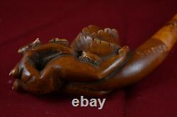 Hand Carved Brown Naked Lady Pipe, Erotic Pipe, Unsmoked Pipe, Block Meerschaum