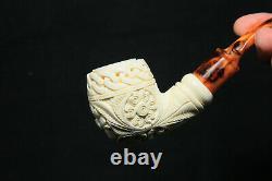 Hand Carved Embossed Floral Meerschaum Pipe, Unsmoked Pipe, Block Meerschaum