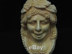 Happy Bacchante in Vineyard Block Meerschaum Pipe Big Mythological Yellow 5237