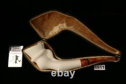 Horse Hoof Hand Carved Block Meerschaum Pipe in a fitted CASE 6911