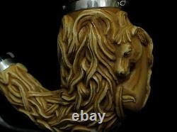 Horse withHair & Seaweed Block Meerschaum Pipe 925 Sterling Silver Bands Huge 0024
