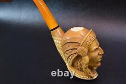 KENAN Indian Chief Figure Pipe Block Meerschaum-handmade NEW W CASE#155