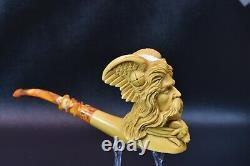 KENAN XL Viking Pipe Handmade From Turkey Block Meerschaum-NEW W CASE#1066
