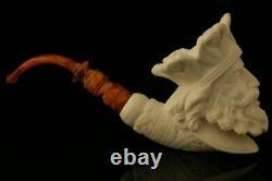 King Arthur Block Meerschaum Pipe Carved by I. Baglan in CASE 10501