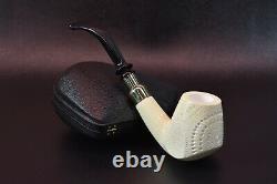 L Freehand Pipe BLOCK MEERSCHAUM-NEW-HAND CARVED W Case#1254 Spigot Army Pocket