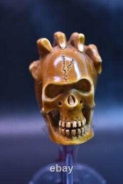 L SIZE Reverse Skull Pipe BY ALI Block Meerschaum-NEW HANDMADE W CASE#1157
