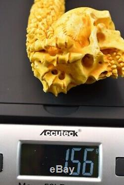 L SIZE Reverse Skull Pipe BY SADIK YANIK Block Meerschaum-NEW W CASE#1115