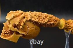 L SIZE Reverse Skull Pipe BY SADIK YANIK Block Meerschaum-NEW W CASE#1119