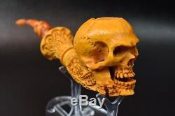 L SIZE Skull Pipe BY SADIK YANIK Block Meerschaum Handmade -NEW W CASE#1333