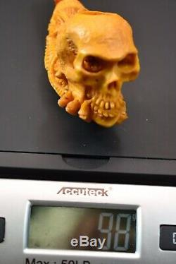 L SIZE Skull Pipe BY SADIK YANIK Block Meerschaum Handmade -NEW W CASE#429