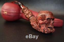 L Size Skull Pipe W Skeleton Hand SADIK YANIK Block Meerschaum-NEW W CASE#1261