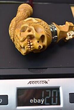 L Skull Pipe W Wind Cap Block Meerschaum Handmade -NEW W CASE#1168