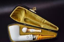 L Smooth Billiard Pipe By Tekin-new-block Meerschaum Handmade W Case#80 Tamper