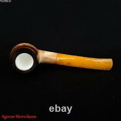 LEE VAN CLEEF Block Meerschaum Pipe, Smoking Tobacco Estate Pipe Pipa AGM-528