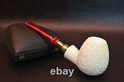Large APPLE Pipe BLOCK MEERSCHAUM-NEW-HAND CARVED W Case#1325 Spigot Army Pocket