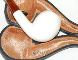 Large Astley Genuine Block Meerschaum Bent + Cased + Amberine M/p Nos