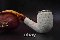 Large Bent Egg Pipe By Tekin-new-block Meerschaum Handmade W Case#-1360 W Silver