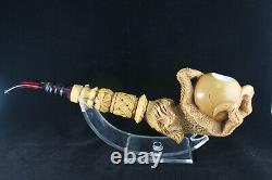 Large Brown Eagle's Claw Meerschaum Pipe, 100% Solid Block Meerschaum, Claw Pipe