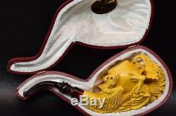 Large Dragon Holds Egg Pipe BY SADIK YANIK Block Meerschaum-NEW W CASE#1156