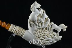 Large Meerschaum Pipe Horse Figures, Artwork Pipe, Block Meerschaum
