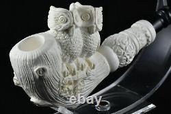 Large Meerschaum with Owls, Artwork Pipe, Unsmoked Pipe, Block Meerschaum