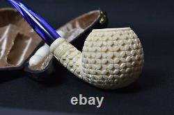 Large Ornate Apple Pipe New Block Meerschaum W Case Tamper Stand#99