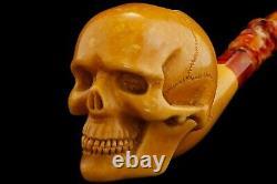 Large Skull Pipe By Kenan-new-block Meerschaum Handmade W Case&Tamper46