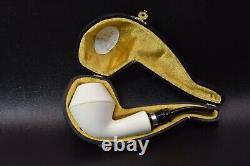 Large Smooth Rhodesian Pipe By Tekin-new-block Meerschaum Handmade W Case#1106