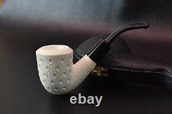 Lattice Bent Billiard Pipe By ALI new-block Meerschaum Handmade W Case#505