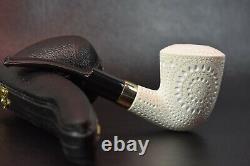 Lattice Bent Dublin Pipe new-block Meerschaum Handmade New W Case#220