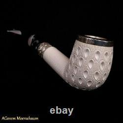 Lattice Block Meerschaum Pipe Tamper w Silver, Pipe En écume De Mer CASE AGM272