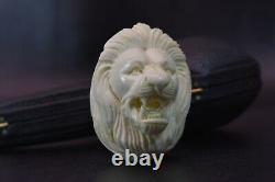 Lion Figure Pipe By EGE block Meerschaum Handmade New W Case#1291